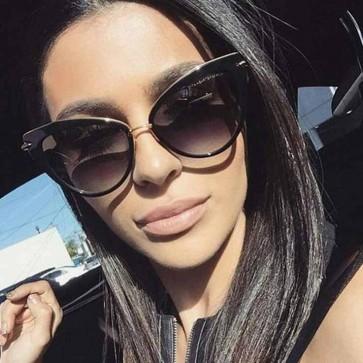 Women Sunglasses Plastic Frame Cat Eye Shades Celebrity