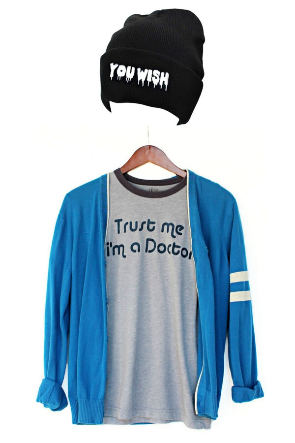 doctor you wish trust justvu.com beanie t-shirt mens t-shirt
