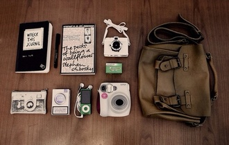 bag hipster indie travelling trip beautiful grunge adventure polaroid camera book picture photography travel brown