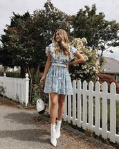 shoes,boots,white boots,dress,short dress,floral,floral dress,bag