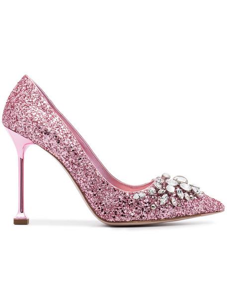 Miu Miu glitter women pumps leather purple pink shoes