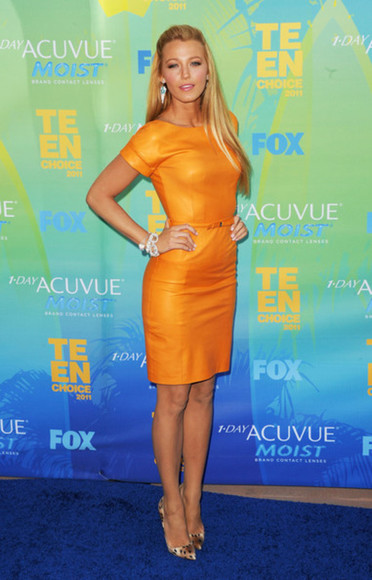 dress blake lively orange fitted dress orange dress orange dresses bright dress short dress celebrity dresses
