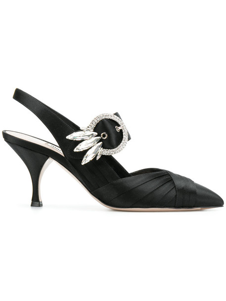 women embellished pumps leather black satin shoes