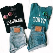 shirt,california girl beauty,california,tokyo,tokyo fashion,tumblr,tumblr girl,aesthetic,black,turquoise,blue