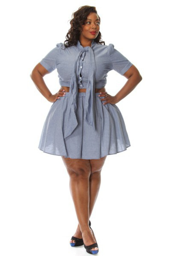 Plus Size Tie Crop Top w/ Flare Skirt Set