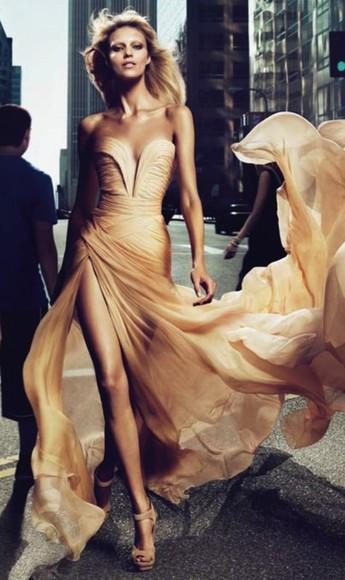 dress bustier dress couture elie saab strapless slit champagne dress