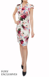dress,classic,oriental,cheongsam,modern,mandarin collar,pencil cut,traditional,feminine,cap sleeves dresses
