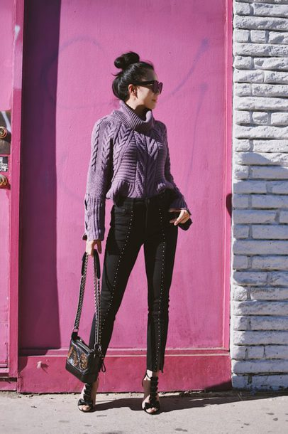 hallie daily blogger sweater jeans shoes turtleneck sweater knitted sweater sandals black pants winter outfits