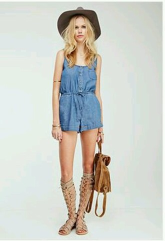 jumpsuit blue jeans romper summer floppy hat