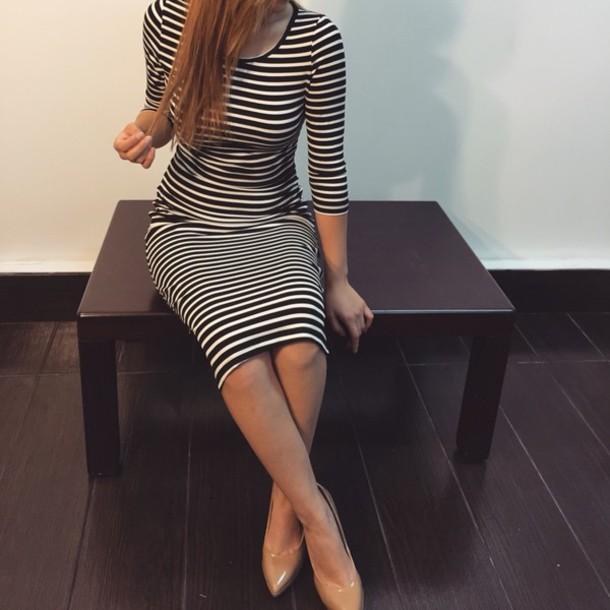 dress black & white stripped dress