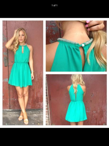 dress green beaded dress