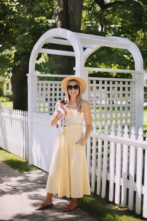 skirt maxi skirt gingham gingham skirt tube top gingham set summer hat sandals blogger blogger style