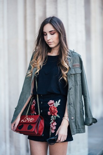 skirt t-shirt jacket army green jacket blogger blogger style embroidered skirt crossbody bag