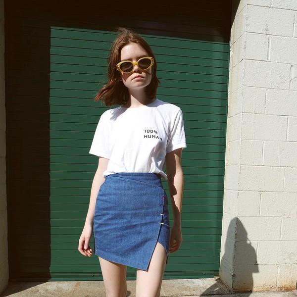 skirt double3xposure mini skirt denim denim skirt asymmetrical asymmetrical skirt t-shirt white t-shirt sunglasses