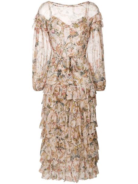 Zimmermann dress women spandex floral nude silk