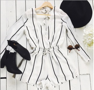 jumpsuit haute rogue wrap romper romper white and black romper striped shirt striped romper striped jumper striped jumsuit wrap jumpsuit deep v