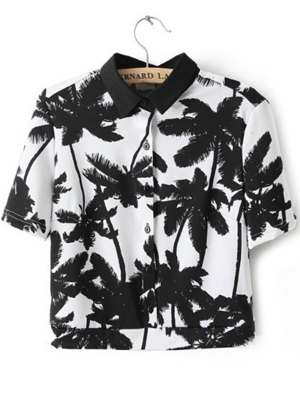 t-shirt blouse palm tree print