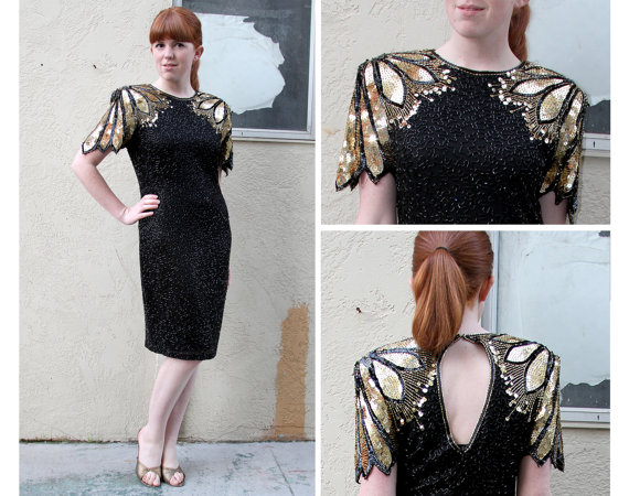 Vintage 80s Black & Gold Metallic Sequin Beaded by LaConchaVintage