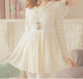 dress cute beautiful necklace lace bows cream lace dress sweet dress cute dress ulzzang pastel dress korean fashion korean style kawaii dress jewels kawaii white lace dress