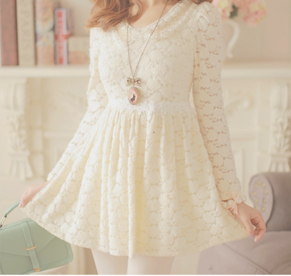 dress cute beautiful necklace lace bows cream lace dress sweet dress cute dress ulzzang ulzzang pastel dress korean fashion korean style kawaii dress jewels kawaii white lace dress