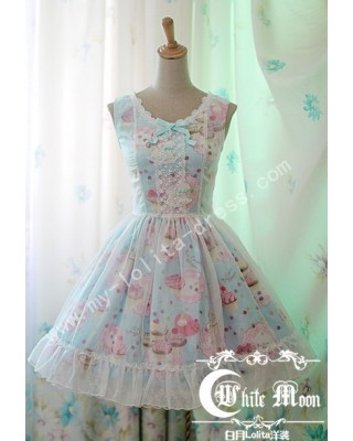 c632a6dd7e67 Strawberry Sweeties Blue Cake Prints Chiffon Lolita Jumper Dress $90.99--  One Piece Dress - Dresses ...