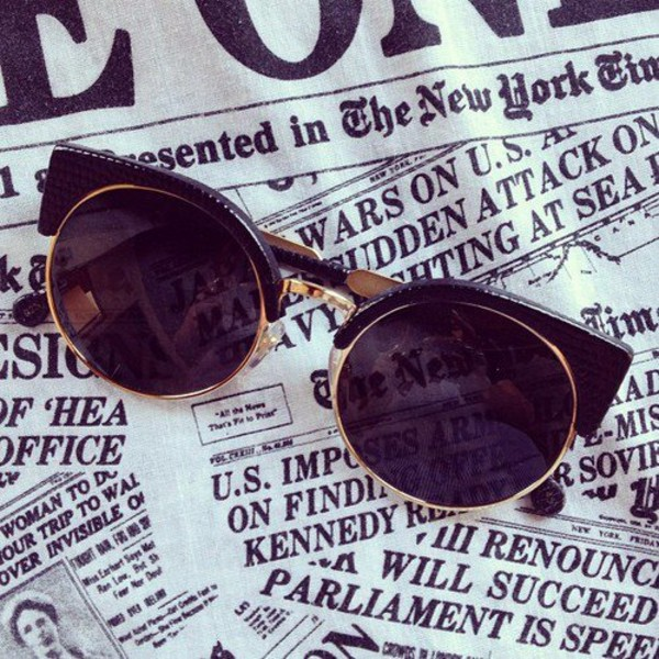 sunglasses vintage round cat eye edgy sun round black gold black sunglasses chic Pin up cat eye cool luxury style hot