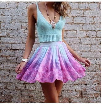 top mint knitted top crop tops style skirt galaxy print pastel green blue homecoming dress colorful