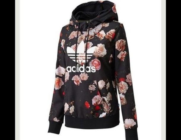 Jacket: adidas, floral, sweater, adidaorgionals, roses, black ...