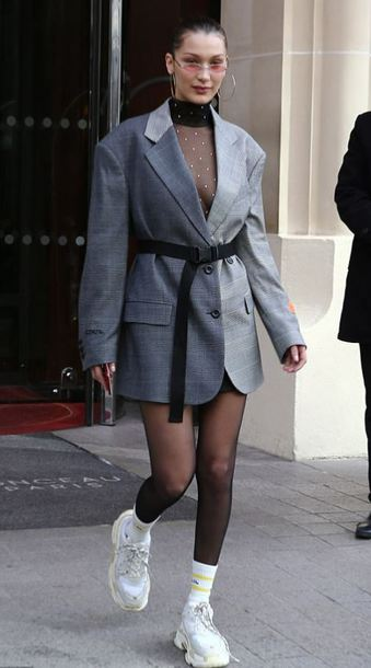 jacket skirt mini skirt blazer grey sneakers bella hadid model off-duty streetstyle bodysuit sheer top mesh mesh top paris fashion week paris fashion week 2018 fashion week fashion week 2018