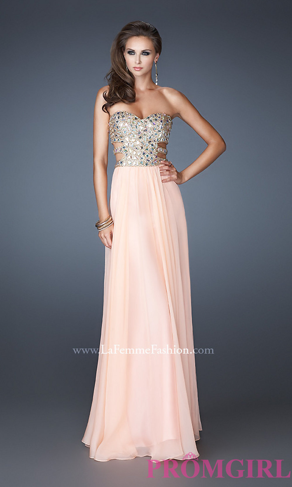 Cut out prom gown by la femme 18602