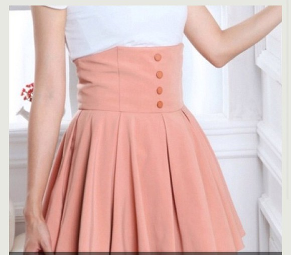 skirt buttons baby pink skirt high waist