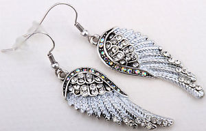 Clear Crystal Angel Wing Earrings EC23 Matching Ring Pin Pendant Available | eBay