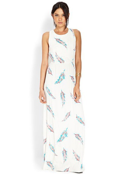 dress forever 21 feather print feathers