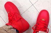 shoes,nike air force 1,nike sneakers,all red air force ones,red nike shoes,air foce,air force one red aztec