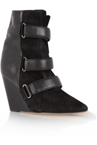 Isabel Marant | Scarlet leather, suede and calf hair wedge boots | NET-A-PORTER.COM