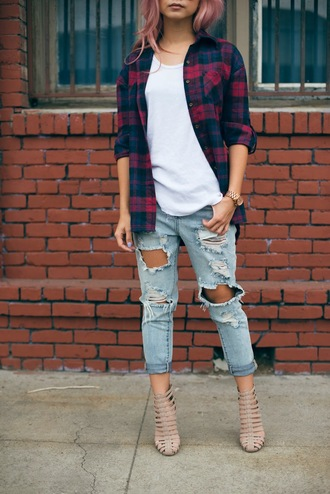 the blvck sheep blogger jeans sunglasses cropped pants ripped jeans flannel shirt high heels