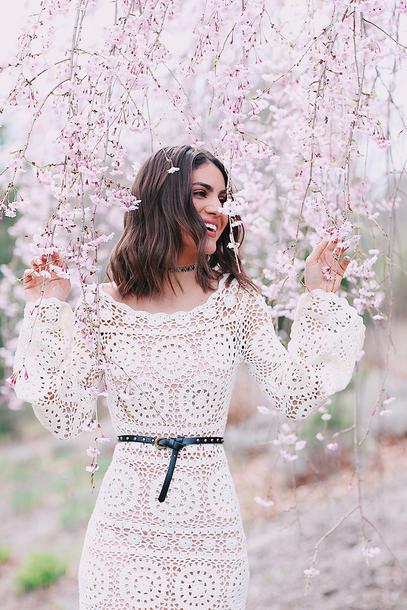 383fa8ba94 dress tumblr crochet crochet dress bell sleeves bell sleeve dress see  through see through dress white