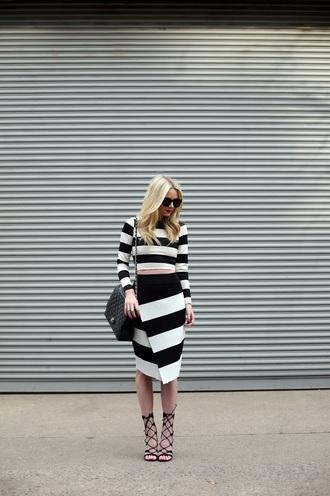 atlantic pacific skirt t-shirt shoes bag jacket blogger stripes black and white striped top striped skirt shoulder bag sandals high heel sandals
