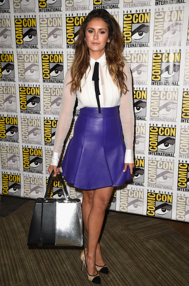 jewels earrings shoes blouse skirt bag nina dobrev