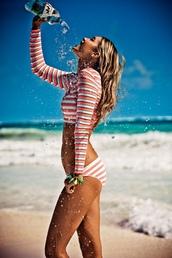 swimwear,top,bikini,bikini top,crop tops,summer top,beach,model,gigi hadid,stripes,striped top