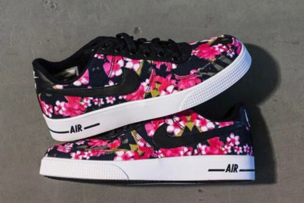 shoes nike air flowers black lace