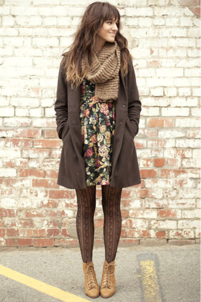 dress coat floral floral dress tights scarf wool coat fall outfits patterned dress