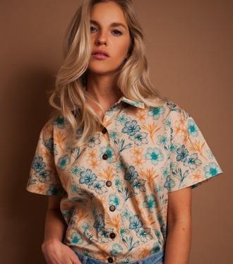 blouse aloha print foral hawaiian button up unisex oversized aloha shirt