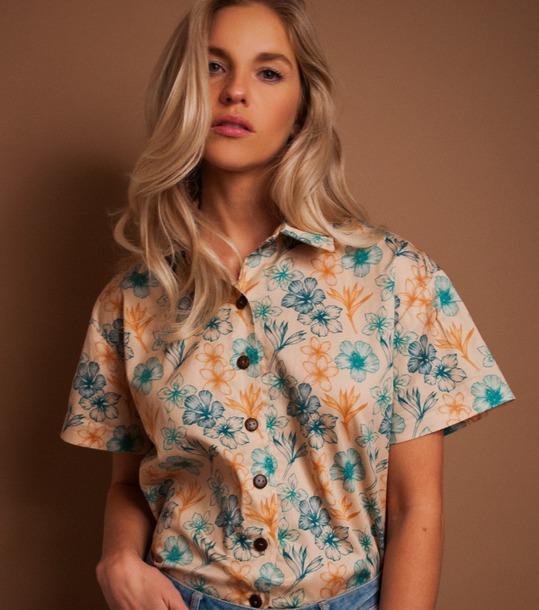 blouse aloha print foral hawaiian hawaiian button up unisex oversized aloha shirt
