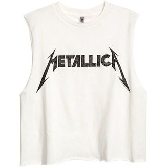 top crop tops metallica black white tomboy band rock metal music