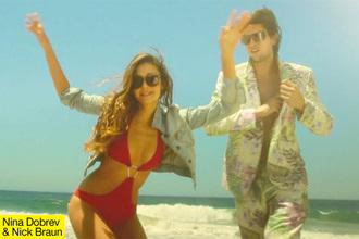 swimwear nina dobrev monokini swimsuit red swimwear