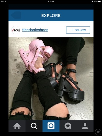 shoes pink cute edgy style fashion girly ripped jeans tumblr shoes