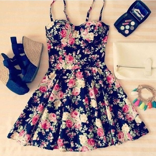 Dress: clothes, floral, wedges, cute, bustier, shoes ...