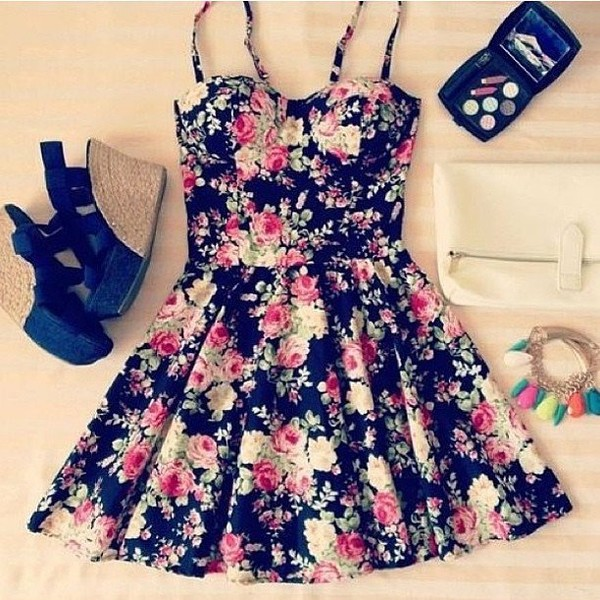 dress clothes floral wedges cute bustier shoes black dress floral pattern flowers fashion spring skater spring outfits green flowers roses girly sundress flowered shorts floral dress