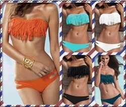 Online Shop Hot Sale Sexy Swimwear & Bikinis Set Fringe With Cup Push Up Strapless Swimsuits Victoria Style Boho Two Pieces Women Trikini|Aliexpress Mobile